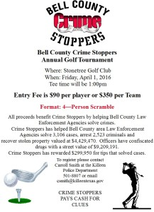 Bell County Crime Stoppers Golf Tournamemt Flyer